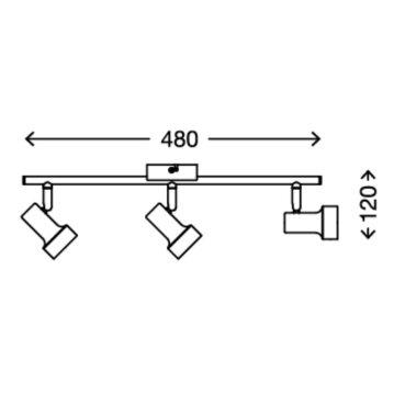 Briloner LED Deckenleuchte Spot 3-flammig ROST Metall...
