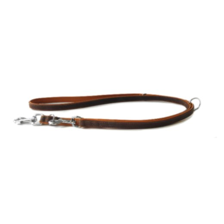Das Lederband Verstelbare Hundeleine Roma Mocca/Cognac 200 cm x 14 mm