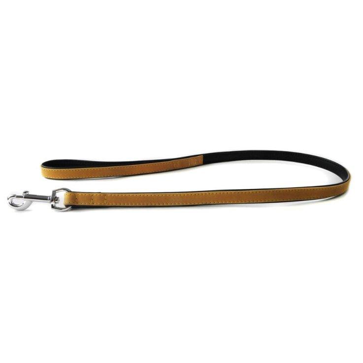 Das Lederband Hundeleine Roma sand/schwarz 200 cm x 18 mm