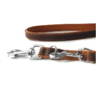 Das Lederband Verstelbare Hundeleine Roma Mocca/Cognac 200 cm x 18 mm