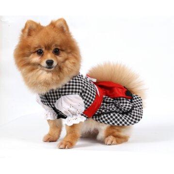 DoggyDolly DL001 Dirndl für Hunde schwarz-weiß Gr. XXS