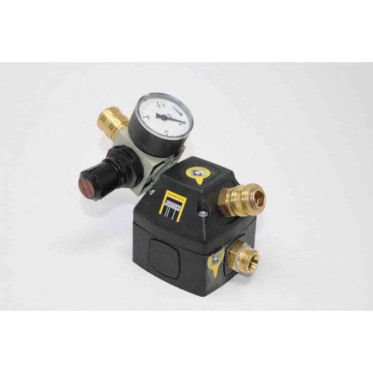 Rohrleitungsdose mit Endverteilerdose sowie einseitig aufgebauten Druckminderer