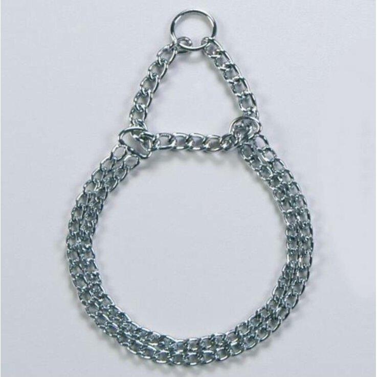 Kettenhalsband / 45 cm, 2-reihig, Würger Halsband Dressurkette mit Zugbremse