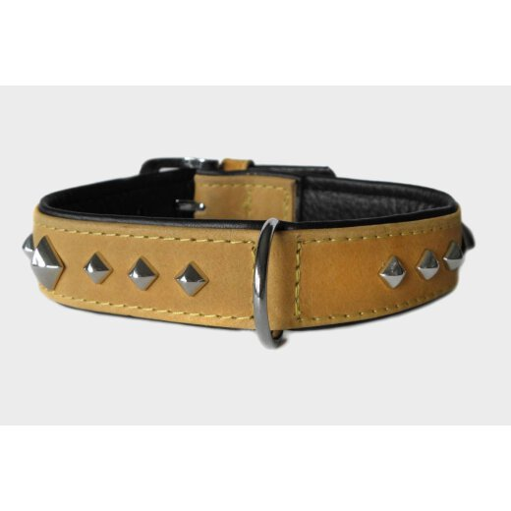 Das Lederband Hundehalsband Roma sand/schwarz, Länge: 55 cm / Breite: 35 mm