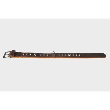 Das Lederband Hundehalsband Roma mocca/cognac, Länge: 55 cm / Breite: 35 mm