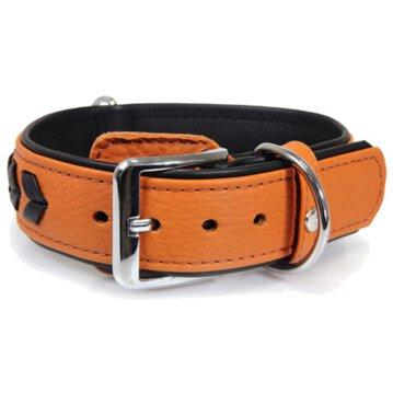 Das Lederband Hundehalsband Granada walnut/black, Länge: 45 cm / Breite: 30 mm