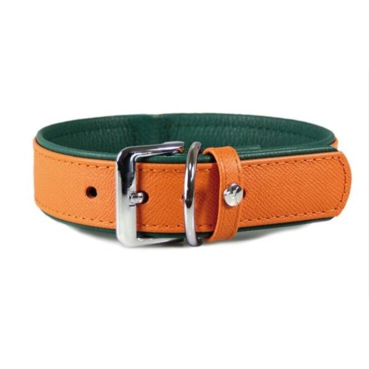 Das Lederband Hundehalsband Milano orange/forest, Länge: 50 cm / Breite: 30 mm