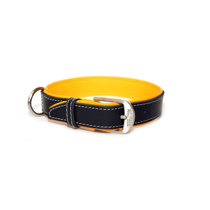 Wolters Halsband Terranova Fettleder Mango/Schwarz 40 cm/20 mm