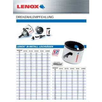 LENOX Lochsäge HSS-Bi-Metall Bohr ø 51 mm
