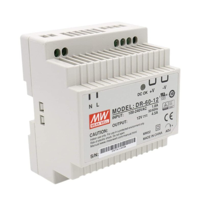 Heschen Meanwell Switching Power Supply DIN Rail Power Supply Dr 60 54 W 12 V 4,5 A DIN Rail UL CE.