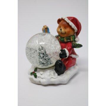 Weihnachtsbär mit Schneekugel 8 cm