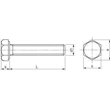ISO4017 8.8 M 8x 90 verzinkt Sechskantschraube ohne Schaft (DIN 933)