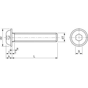 ISO7380-2 010.9 M 5x 10 verzinkt Linsenschraube mit Flansch und Innensechskant