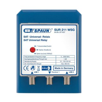 Spaun SUR 211 WSG Sat Antennen Relais DiSEqC 2/1 mit Option