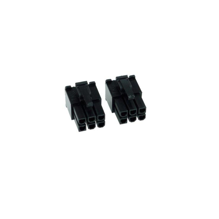 Phobya VGA Power Connector 6Pin Stecker (6-eckig) inkl. 6 Pins - 2 Stück Black
